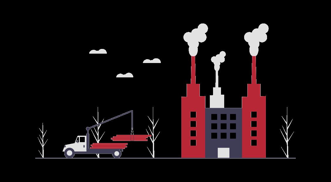 Infographie représentant le secteur de l'industrie